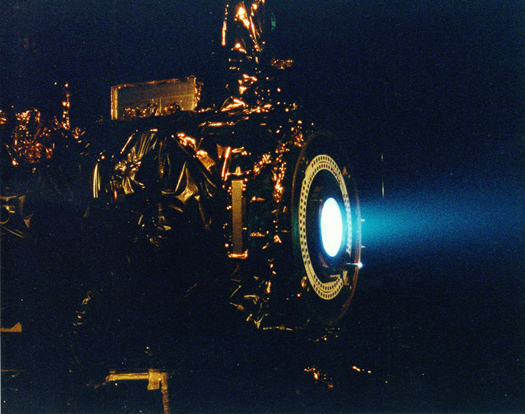 An ion thruster test