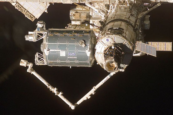 Columbus module docked to International Space Station in 2008