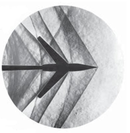 Schlieren photograph of an attached shock on a sharp-nosed supersonic body.