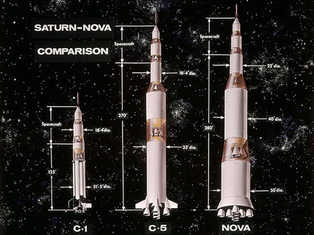 Cutaway drawings showing three multi-stage rockets