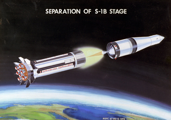 An artist's conception of the separation of the S1-B stage of a Saturn IB rocket