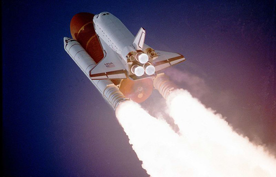The Space Shuttle Atlantis during takeoff