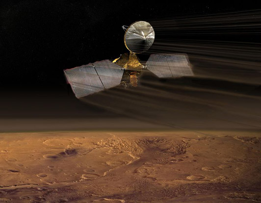 An artist's conception of aerobraking with the Mars Reconnaissance Orbiter