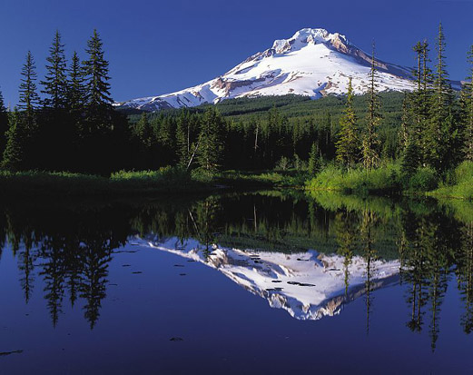 The reflection of Mount Hood in Trillium Lake.