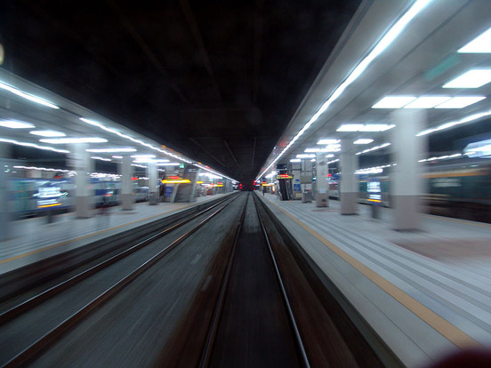 Motion involves change in position, such as in this perspective of rapidly leaving Yongsan Station