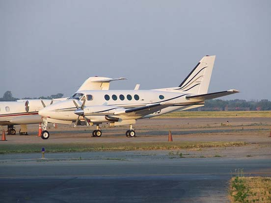 A Model B100 King Air with Garrett engines