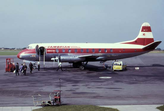 Viscount 701 of Cambrian Airways at Bristol Airport in 1963