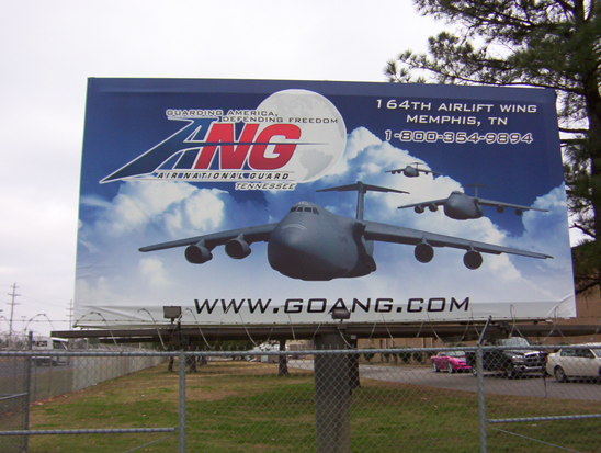 Sign at the Entrance gate of the 164th Airlift Wing base in Memphis (2008)