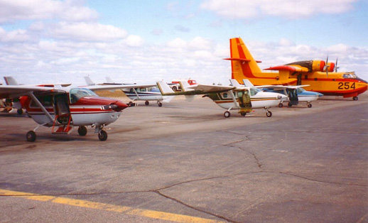 Part of the contract fleet of Cessna 337 Skymasters on firefighting detection duty with the Ontario Ministry of Natural Resources at Dryden, Ontario, 1996.