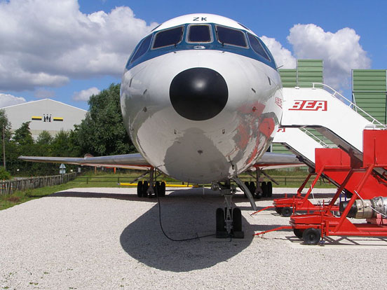Preserved Trident G-AWZK showing offset nosewheel