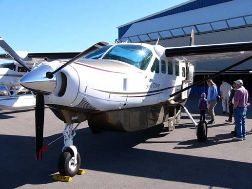 Cessna 208B Grand Caravan factory demonstrator, with under-belly baggage locker, bearing the Cessna Caravan motto