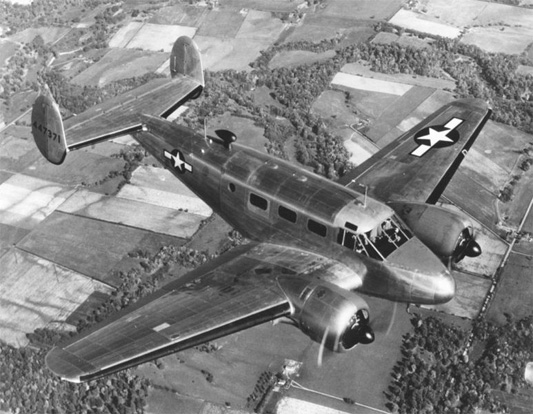 Beechcraft UC-45F in flight.