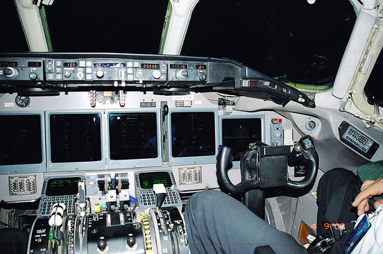 Glass cockpit of a Saudi Arabian Airlines MD-90