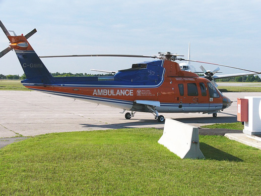 An early production Sikorsky S-76A owned by Canadian Helicopters and used in the air ambulance role.