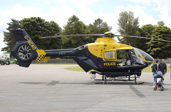 Eurocopter EC135 T2 providing law enforcement and medical assistance in the Avon and Somerset Police, and Gloucestershire Police areas, based at Bristol Filton Airport, England.