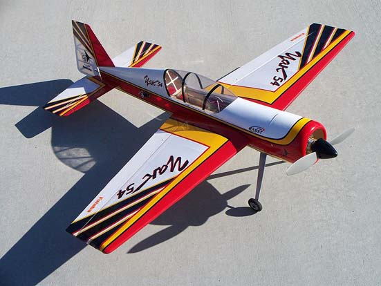 This Carl Goldberg Products model of a Yakovlev Yak-54 is an example of a high-performance, fully aerobatic mid-wing plane with no dihedral