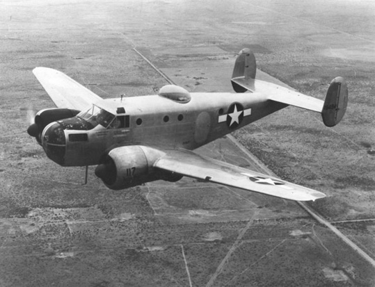 Beechcraft AT-11 over the west Texas prairies, c. 1944.