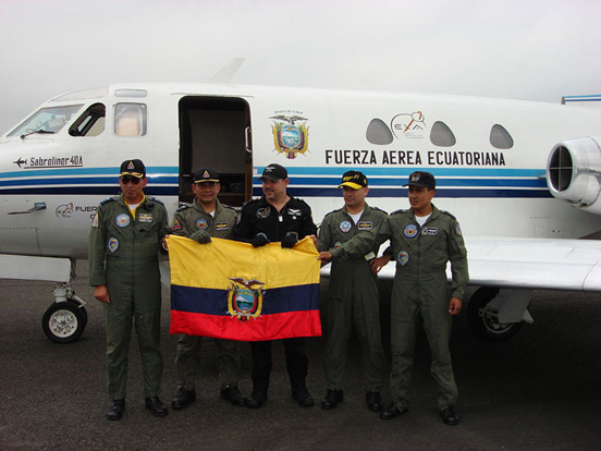 The first Latin American zero-g plane, the Ecuadorian Air Force FAE047, an in-house modified T-39 Sabreliner and its crew