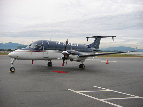 A Sunwest Aviation Beechcraft 1900D at Vancouver International Airport