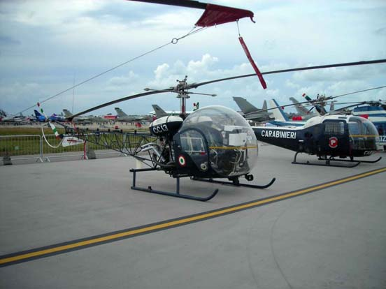 Agusta-Bell 47G (foreground) and Agusta-Bell AB.47J3 Ranger in Italian Carabinieri markings in 2006