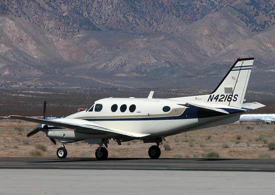 An E90 King Air taxis at the Mojave Spaceport