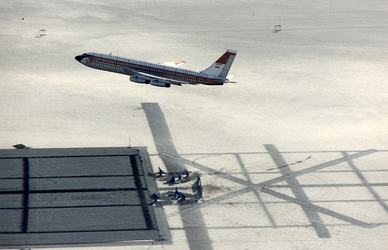 A Boeing 720 being flown under remote control as part of NASA's Controlled Impact Demonstration