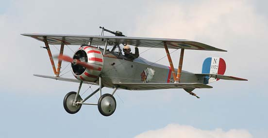 A Nieuport 17 in flight at a display in 2007. Insignia is of the Lafayette Escadrille.