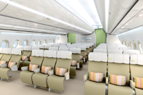 High-density nine-abreast configuration mock-up of the economy class of the A350.