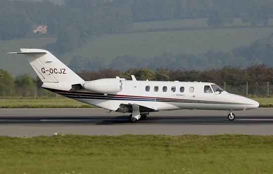 Cessna 525A CitationJet CJ2 on the takeoff run at Bristol Airport, England
