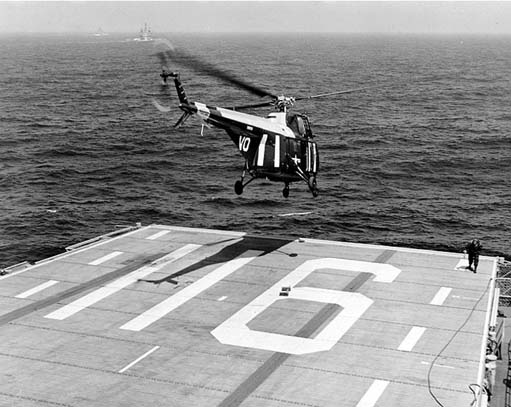 A U.S. Navy HO4S of HS-4 taking off from USS Badoeng Strait in 1954