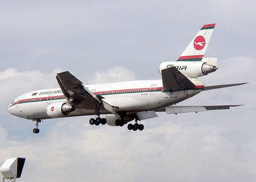 Biman Bangladesh DC-10-30 with landing gear extended