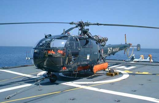French Navy Alouette III on the frigate La Motte-Picquet
