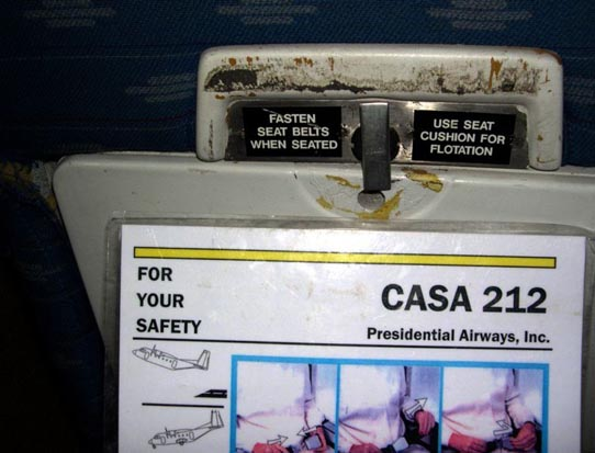 CASA C-212 Safety Card on a Presidential Airways flight over Afghanistan in October 2005