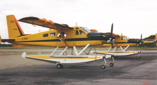Ontario Ministry of Natural Resources deHavilland DHC-2 Mk 3 Turbo Beavers on amphib floats in Dryden, Ontario in 1995