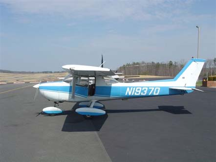 1973 Cessna C150L showing its longer dorsal strake than earlier models