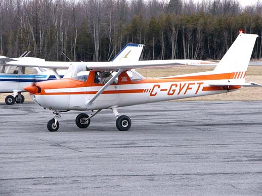 1976 model Cessna 150M showing its 15% larger fin and rudder area