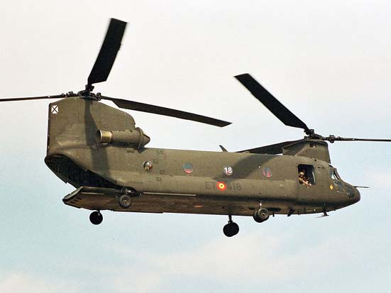 The CH-47 Chinook uses tandem rotors