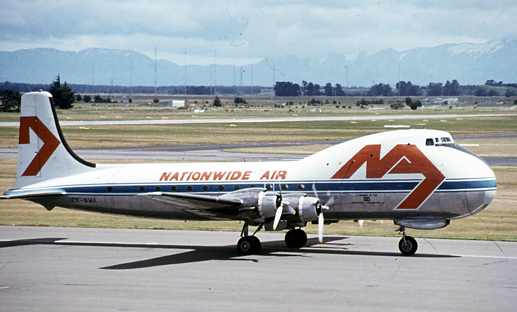 Aviation Traders ATL-98 Carvair of Nationwide Air at Christchurch, New Zealand in 1977
