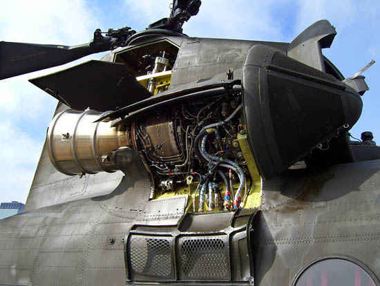 Turboshaft engine on the rear of a CH-47