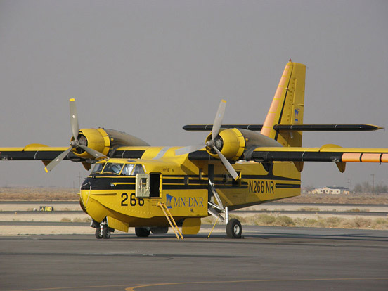 One of Minnesota DNR's Scoopers. The department lent the aircraft to the effort to fight the California wildfires of October 2007, and it is seen here at Fox Field