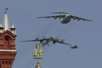 An Il-78 leads an aerial formation during the Victory Day parade over Moscow, Russia.