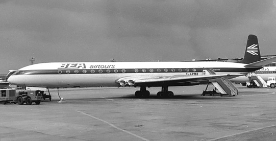 British Airtours Comet 4B at Manchester Airport, July 1970