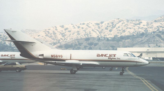 Falcon 20DC freighter of Bancjet Systems at Burbank airport near Los Angeles in September 1986. Note deleted cabin windows