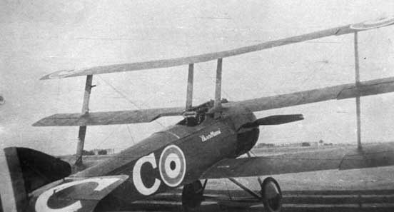Raymond Collishaw's Triplane, serial N533. Collishaw flew several Triplanes, all named Black Maria