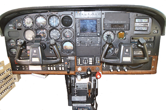 An updated Cessna T210 instrument panel.