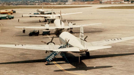 VASP Scandia PP-SQN (nearest) at Sao Paolo Congonhas in 1965