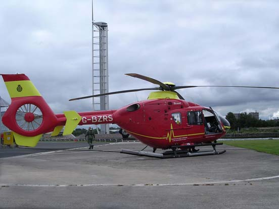 EC135 T2 at Glasgow City Heliport, owned and operated by Bond Helicopters, UK