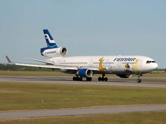 Finnair MD-11 decorated with Moomin characters.