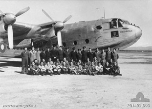 Members of the Governor-General's Flight in front of the Vice-Regal Avro York aircraft in June 1945
