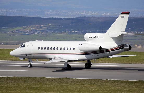 Dassault Falcon 900B taxis after landing at Bristol International Airport, England.
